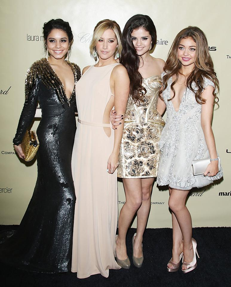 <p>A who's-who of young Hollywood made the scene in 2013. From left, besties Hudgens and Tisdale, plus Hudgens's co-star from 2012's <em>Spring Breakers </em>Selena Gomez, and <em>Modern Family</em>'s Hyland, took a group shot. If they look young, it's because they were! Gomez was only 21. (Photo: Michael Tran/FilmMagic) </p>