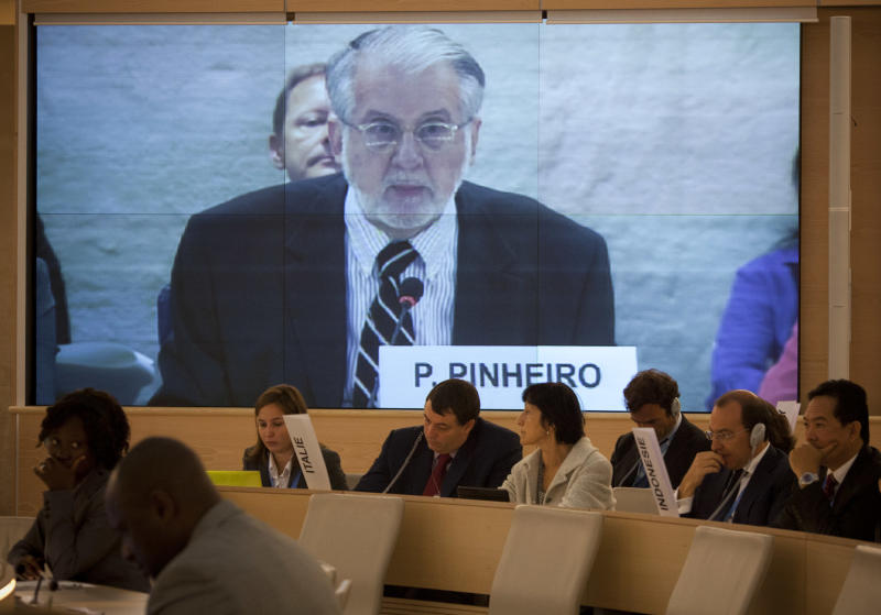 "Brazilian diplomat Paulo Sergio Pinheiro delivers the report of the Independent Commission of Inquiry on Syria during to the Human Rights Council at the United Nations in Geneva, Switzerland, Monday, Sept. 17, 2012. An increasing number of ""foreign elements"" including jihadis are now operating in Syria, an independent U.N. panel confirmed Monday in its first report to say that outside ""terrorists"" have joined a war spiraling out of control. (AP Photo/Anja Niedringhaus)"