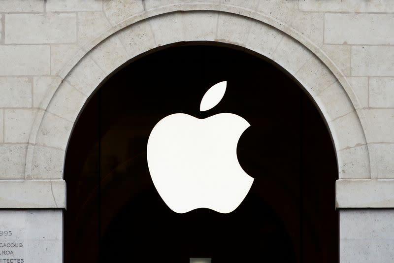 Apple logo is seen on the Apple store at The Marche Saint Germain in Paris