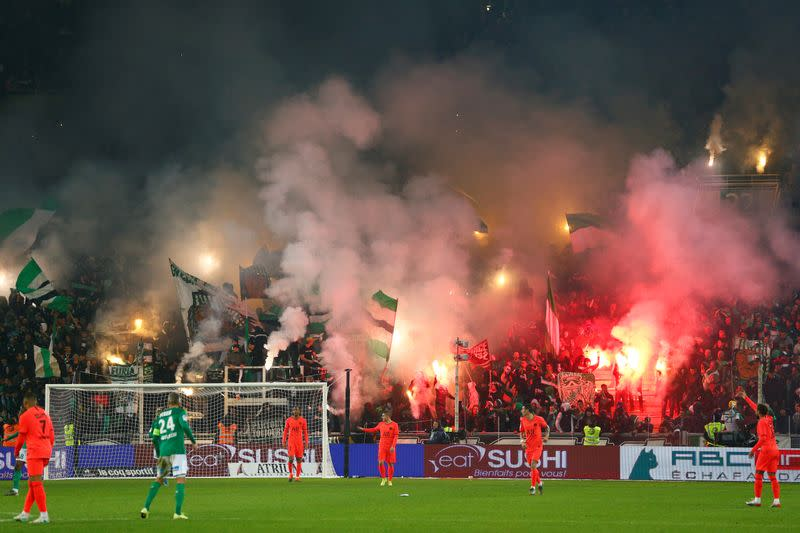 St Etienne hit with stadium ban over fireworks during PSG match