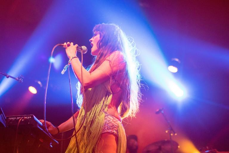 Raquel Berrios of the husband-and-wife duo Buscabulla at the Coachella Music and Arts Festival in Indio, California