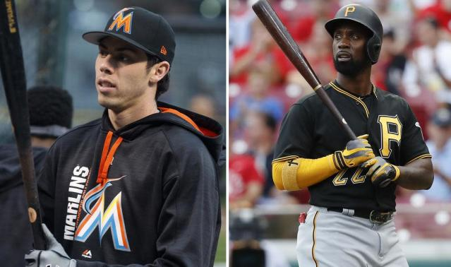 "<a class=""link rapid-noclick-resp"" href=""/mlb/players/9320/"" data-ylk=""slk:Christian Yelich"">Christian Yelich</a> (L) and former MVP <a class=""link rapid-noclick-resp"" href=""/mlb/players/7977/"" data-ylk=""slk:Andrew McCutchen"">Andrew McCutchen</a> are among the stars traded by the Marlins and Pirates this winter. (AP)"