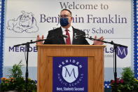 Education Secretary Miguel Cardona speaks during a tour at Benjamin Franklin Elementary School, Wednesday, March 3, 2021 in Meriden, Conn. (Mandel Ngan/Pool via AP)