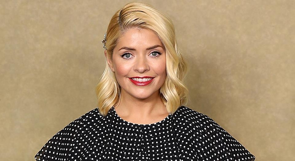 Holly Willoughby has returned to This Morning wearing a polka dot dress. (Getty Images)