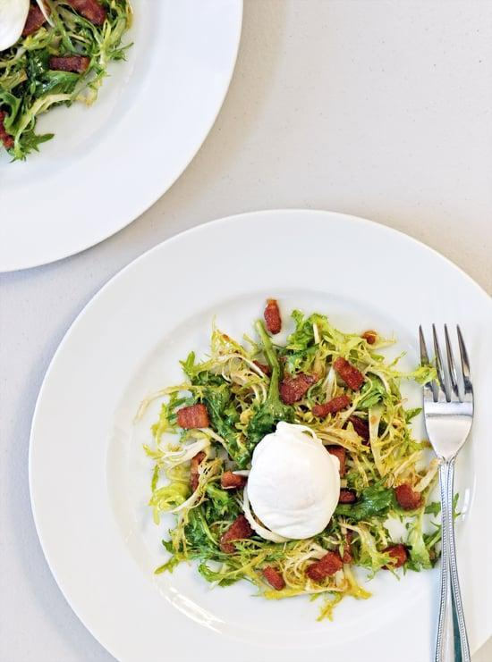 """<p>There's no better duo than eggs and bacon. Top them on some greens to create the <a href=""""https://www.popsugar.com/food/Egg-Bacon-Salad-Recipe-30500431"""" class=""""link rapid-noclick-resp"""" rel=""""nofollow noopener"""" target=""""_blank"""" data-ylk=""""slk:lyonnaise salad"""">lyonnaise salad</a>, and you'll have the recipe for success.</p>"""