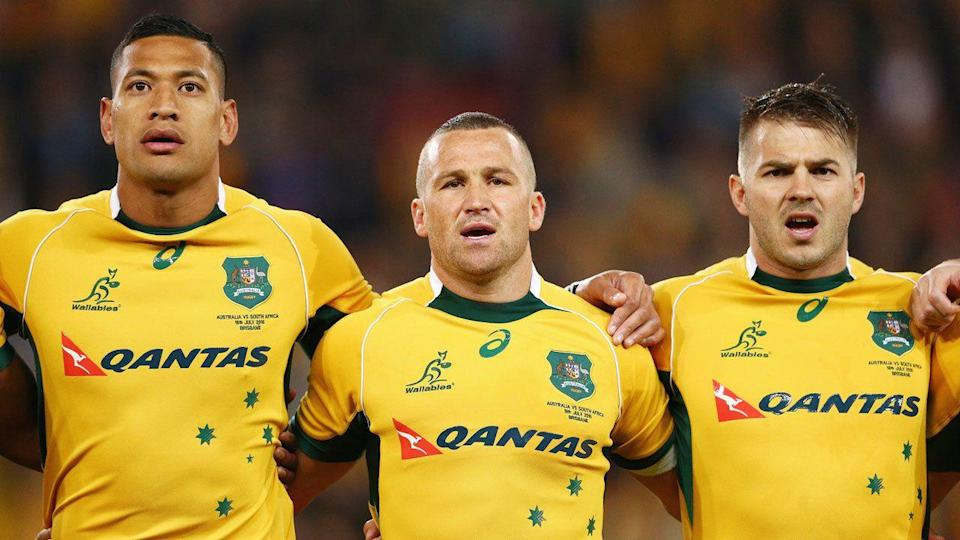 Israel Folau has been criticised by former Wallabies teammate Drew Mitchell (right). Pic: Getty