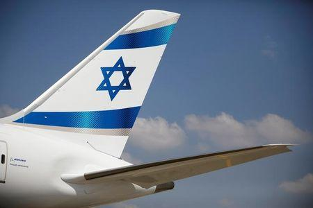 FILE PHOTO: An Israeli flag is seen on the first of Israel's El Al Airlines order of 16 Boeing 787 Dreamliner jets, as it lands at Ben Gurion International Airport, near Tel Aviv, Israel August 23, 2017. REUTERS/Amir Cohen/File Photo