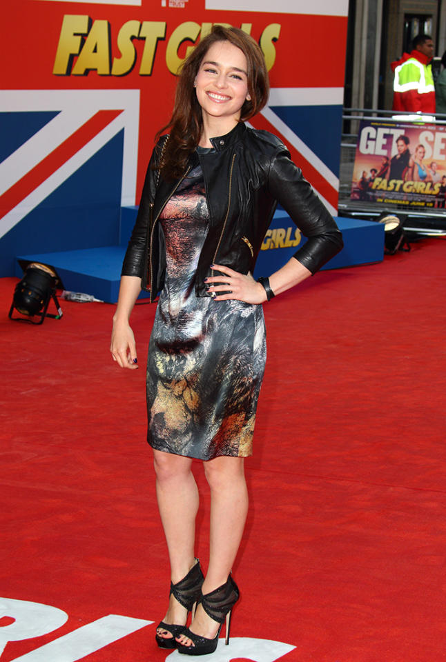 Emilia Clarke attends the UK film premiere of 'Fast Girls' at Odeon West End on June 7, 2012 in London, England.
