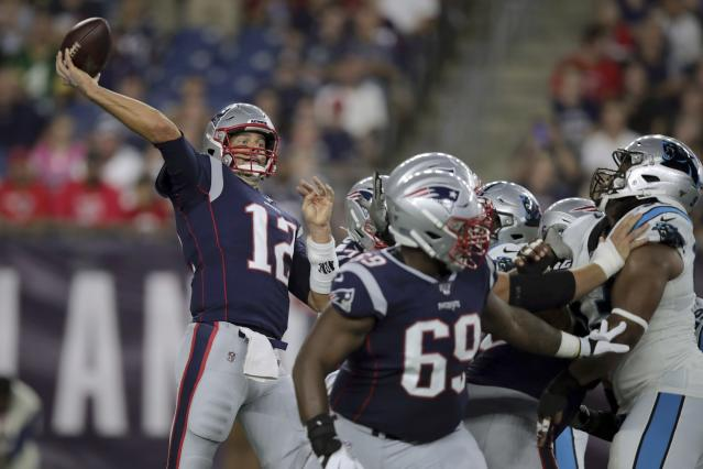 The Buccaneers aren't worried about Tom Brady's arm strength. (AP Photo/Charles Krupa)