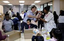 Canadian PM Trudeau takes part in a Thanksgiving food drive in Toronto