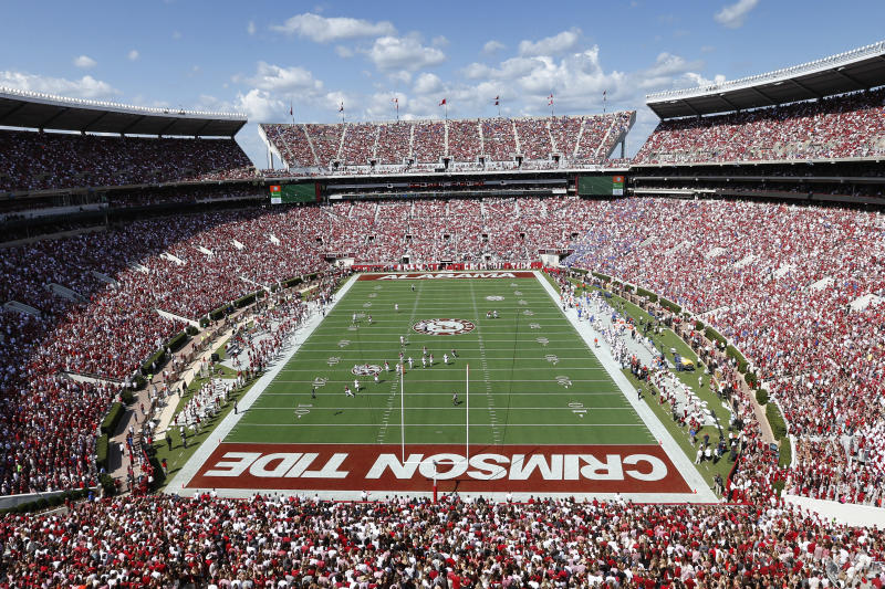 TUSCALOOSA, AL - SEPTEMBER 20: General view of the stadium as the Alabama Crimson Tide takes on the Florida Gators at Bryant-Denny Stadium on September 20, 2014 in Tuscaloosa, Alabama. Alabama defeated Florida 42-21. (Photo by Joe Robbins/Getty Images)
