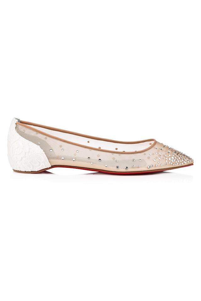 """<p><strong>Christian Louboutin</strong></p><p>bergdorfgoodman.com</p><p><strong>$995.00</strong></p><p><a href=""""https://go.redirectingat.com?id=74968X1596630&url=https%3A%2F%2Fwww.bergdorfgoodman.com%2Fp%2Fchristian-louboutin-follies-embellished-mesh-red-sole-flats-prod143020011&sref=http%3A%2F%2Fwww.elle.com%2Ffashion%2Fshopping%2Fg28171699%2Fmost-comfortable-flats%2F"""" target=""""_blank"""">Shop Now</a></p><p>""""These Louboutin ballerinas give a twist to any laid back outfit. Feminine yet cool, the sparkles are a quick solution for taking an outfit from day to night. As comfort brings confidence, when you feel good you carry yourself with more self-assurance."""" <em>—<strong>Sylvia Haghjoo, Influencer, <a href=""""https://www.instagram.com/p/BrCsMz_hwlZ/"""" target=""""_blank"""">@sylviahaghjoo </a></strong></em><br></p>"""