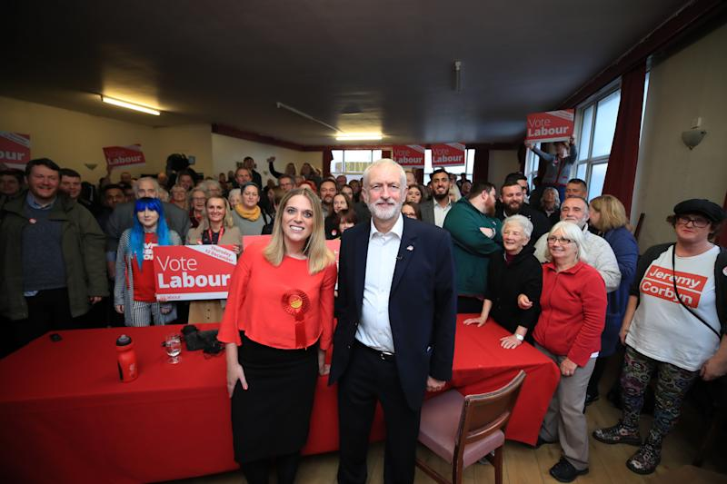 Labour Party leader Jeremy Corbyn and Laura Smith MP, British Labour Party politician for Crewe and Nantwich at the Crosville Social Club in Crewe.