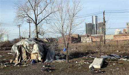 A makeshift homeless persons structure is seen in Detroit