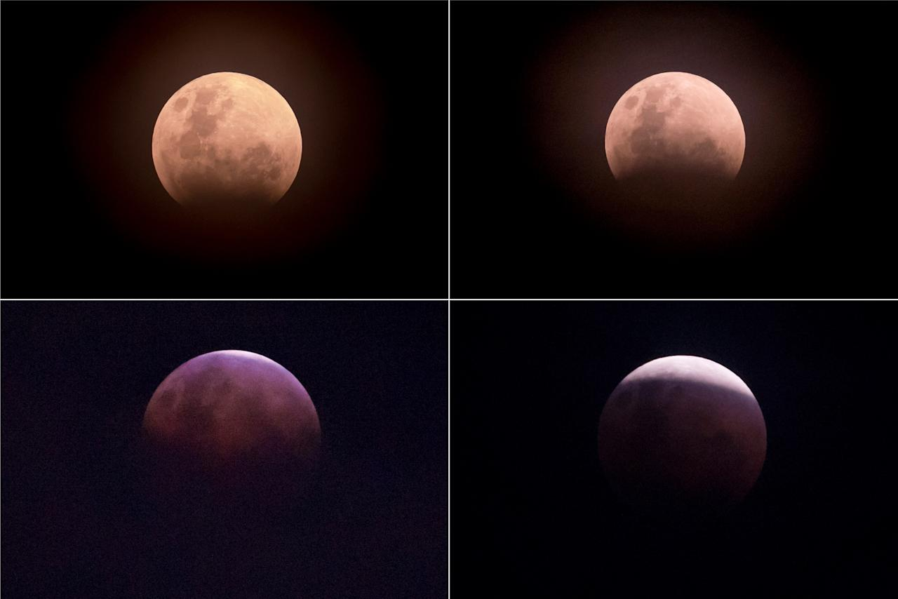 "<p>This combo image (from top L clockwise) shows the moon during a lunar eclipse referred to as the ""super blue blood moon"" in Jakarta on Jan. 31, 2018. (Photo: Bay Ismoyo/AFP/Getty Images) </p>"