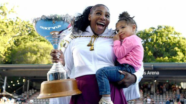 PHOTO: Serena Williams celebrates with her daughter Alexis Olympia after winning the ATP Auckland Open, Jan. 12, 2020, in Auckland, New Zealand. (Hannah Peters/Getty Images)