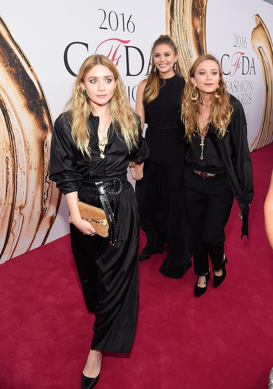 NEW YORK, NY - JUNE 06:  Ashley Olsen,  Elizabeth Olsen and Mary-Kate Olsen  attends the 2016 CFDA Fashion Awards at the Hammerstein Ballroom on June 6, 2016 in New York City.  (Photo by Kevin Mazur/WireImage)
