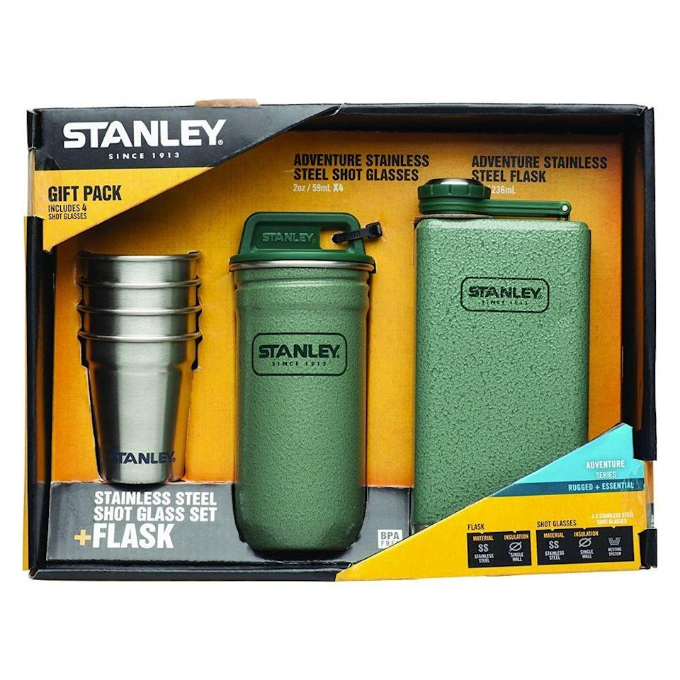 "<p><strong>Stanley</strong></p><p>amazon.com</p><p><strong>$40.00</strong></p><p><a href=""https://www.amazon.com/dp/B00NONBCCU?tag=syn-yahoo-20&ascsubtag=%5Bartid%7C10055.g.4517%5Bsrc%7Cyahoo-us"" rel=""nofollow noopener"" target=""_blank"" data-ylk=""slk:Shop Now"" class=""link rapid-noclick-resp"">Shop Now</a></p><p>His next camping trip just got way more fun: This packaged gift set comes with all the makings for a boozy night under the stars — four stainless steel shot glasses and a matching flask. The shot glasses even nest perfectly in the complementary carrying case, so he can keep track of all four. </p>"
