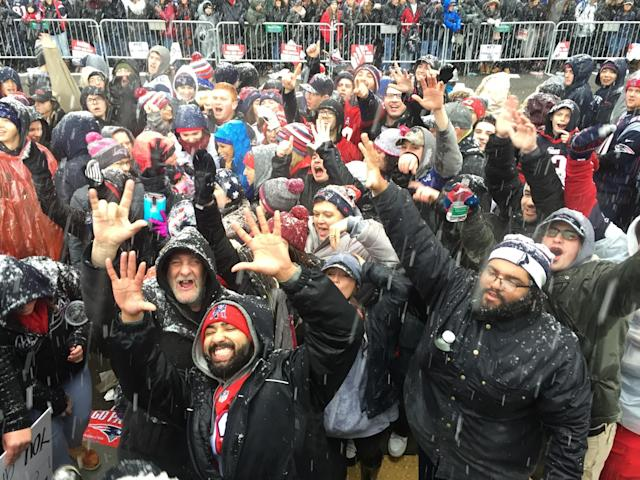 <p>Fans gather on Tremont St. before the New England Patriots Super Bowl LI Victory Parade in Boston on Feb. 7, 2017. (Photo by Pat Greenhouse/The Boston Globe via Getty Images) </p>