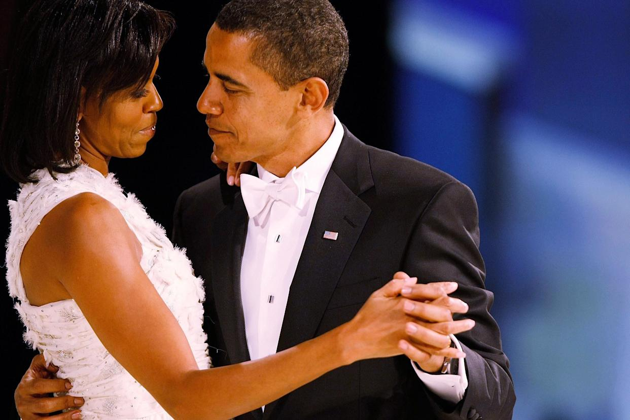 The Obamas dance during the Western Inaugural Ball on Jan. 20, 2009, in Washington.
