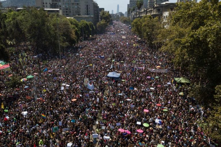 Large numbers gathered in Santiago for International Women's Day