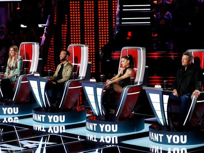 """THE VOICE -- """"Blind Auditions"""" -- Pictured: (l-r) Kelly Clarkson, John Legend, Ariana Grande, Blake Shelton"""
