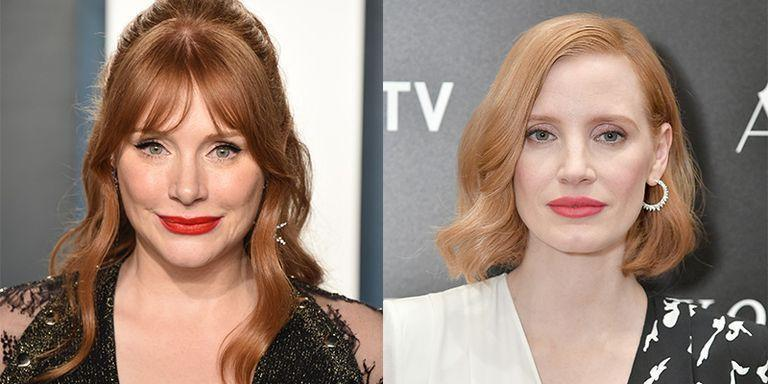 <p>It isn't just their auburn hair, fair complexion, and penchant for a red lip that makes Bryce Dallas Howard and Jessica Chastain so similar. Both actresses have prominent cheekbones and blue eyes too.</p>