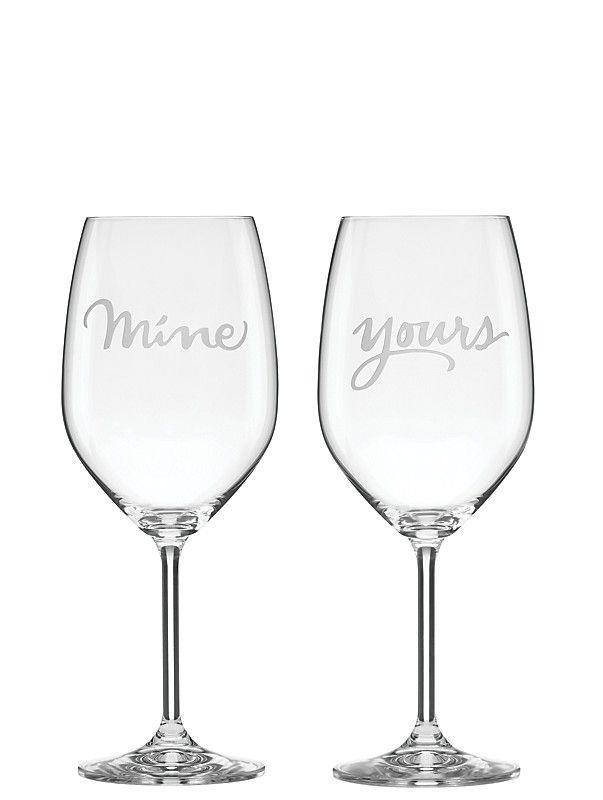 """<p>These glasses are a lot more subtle than asking everyone at your dinner party, """"Did you hear I just got married?"""".</p><p><strong><em>BUY IT NOW: Two Of A Kind Yours And Mine Wine Glasses, $50; </em></strong><a href=""""https://www.katespade.com/products/two-of-a-kind-yours-and-mine-wine-glasses/L857044.html"""" rel=""""nofollow noopener"""" target=""""_blank"""" data-ylk=""""slk:Katespade.com"""" class=""""link rapid-noclick-resp""""><strong><em>Katespade.com</em></strong></a></p>"""