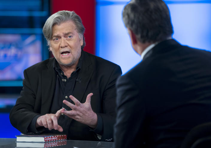 Steve Bannon in an interview with host Sean Hannity, on the set of Fox News Channel's Hannity, in New York in October 2017. (Photo: Craig Ruttle/AP)