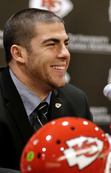 Kansas City Chiefs No. 1 draft pick Eric Fisher, an offensive lineman from Central Michigan, speaks to reporters during an NFL football news conference Friday, April 26, 2013, in Kansas City, Mo. Fisher was the No. 1 overall pick in the NFL draft on Thursday. (AP Photo/Charlie Riedel)