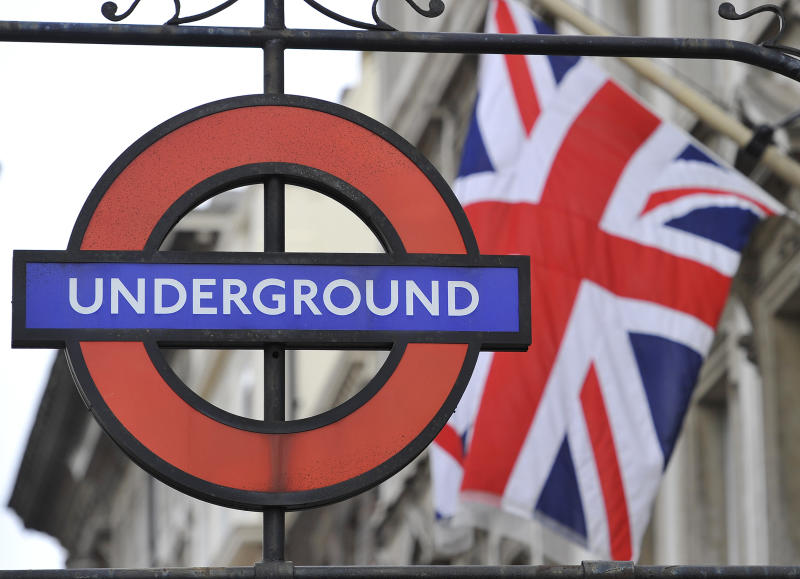 A London Underground sign is seen in central London September 6, 2010. As commuters prepared for travel chaos on Monday at the start of a series of strikes on the London Underground, management and unions traded blows over new safety claims. On Monday, up to 10,000 members of the Rail Maritime and Transport and white collar TSSA union, ranging from station employees to drivers, will put down their tools late afternoon at the start of four one-day strikes to protest 800 ticket-office job cuts. REUTERS/Toby Melville (BRITAIN - Tags: EMPLOYMENT BUSINESS TRANSPORT)