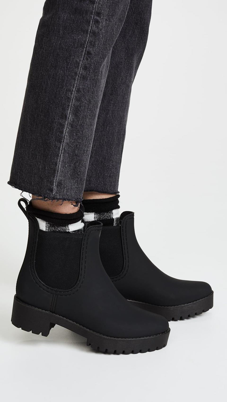 <p>Brave the weather in these cute <span>Jeffrey Campbell Cloudy Rain Booties</span> ($65).</p>
