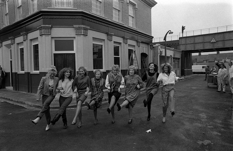 Some of the BBC Television's EastEnders cast line-up at Elstree Studios at Borehamwood, Hertfordshire, (l-r) Letitia Dean, Susan Tully, Shirley Cheriton, Gretchen Franklin, Wendy Richard, Anna Wing, Sandy Ratcliff and Gillian Taylforth.