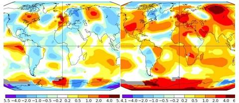 In 1976, Britain was one of the warmest places in the globe (left) - but this year, large parts of the world are experiencing hotter than average temperatures