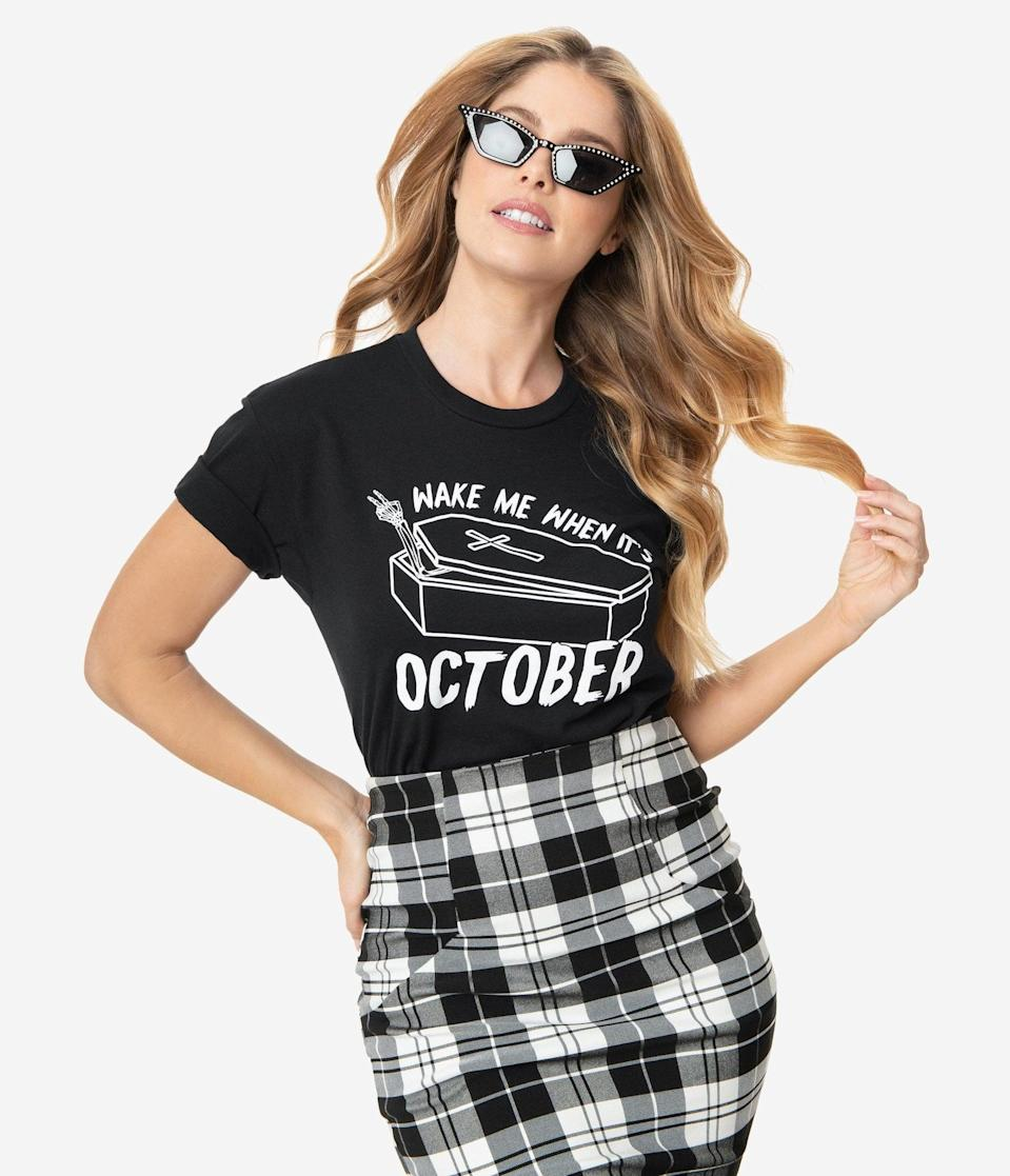 <p>The <span>Unique Vintage Wake Me When its October Unisex Tee</span> ($28) is a total vibe. </p>