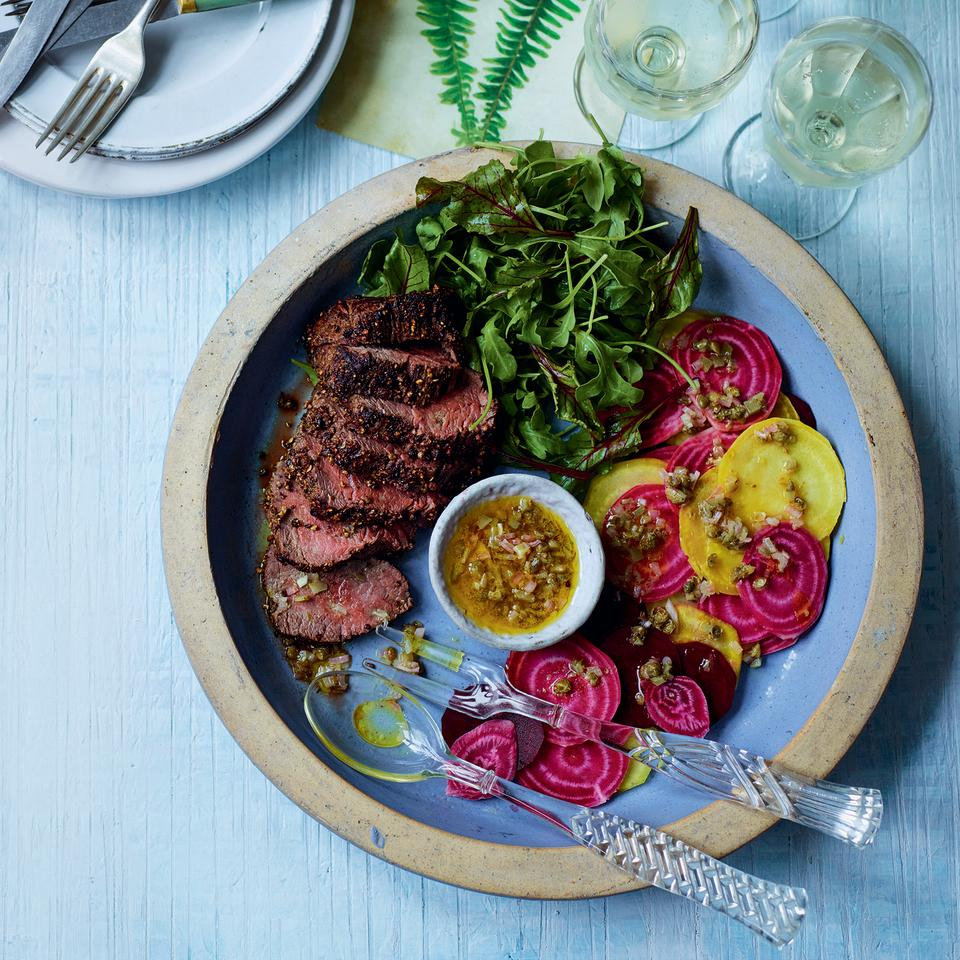 "<p>From the earthy beetroot and spicy leaves to the peppery, tender beef and the piquant dressing, this salad is full of punchy flavours.</p><p><a class=""body-btn-link"" href=""https://www.redonline.co.uk/food/recipes/a33643555/beef-beetroot-salad/"" target=""_blank"">FIND THE RECIPE</a></p>"
