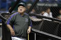 FILE - In this Sept. 21, 2007 file photo, Tampa Bay Devil Rays special advisor Don Zimmer leans against the batting cage before a baseball game between the Devil Rays and Boston Red Sox, in St. Petersburg, Fla. Don Zimmer, a popular fixture in professional baseball for 66 years as a manager, player, coach and executive, has died. He was 83. (AP Photo/Chris O'Meara, File)