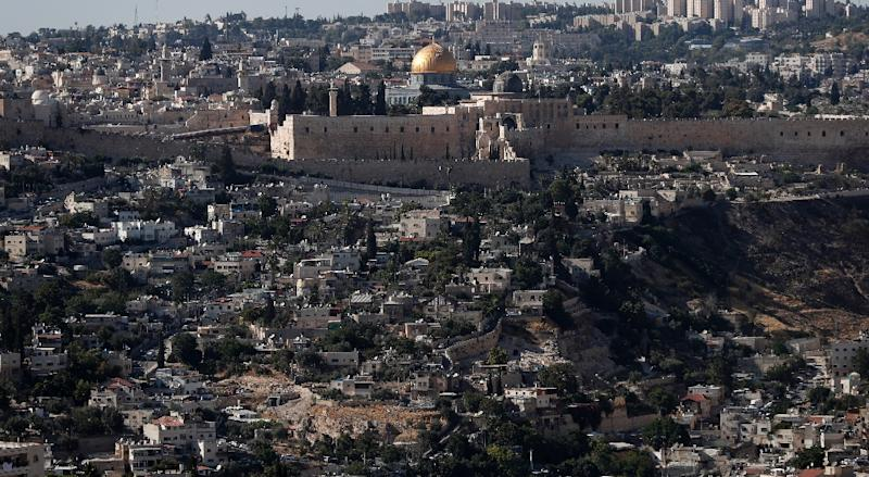 A general view taken on May 31, 2017 shows the Al-Aqsa Mosque compound and neighbourhoods in Palestinian-dominated east Jerusalem next to the historic Old City