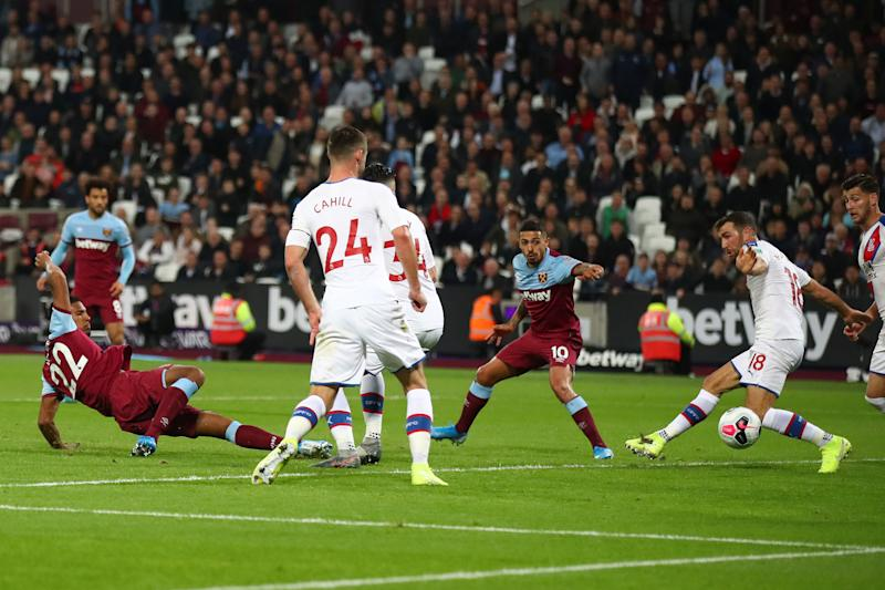 Sebastien Haller of West Ham United puts West Ham in front. (Photo by Julian Finney/Getty Images)