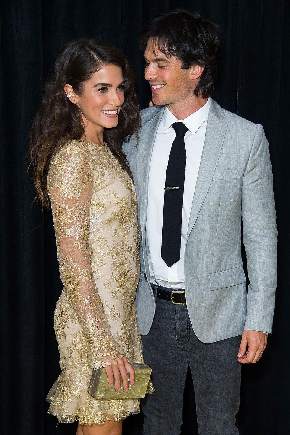 "<p>After six months of dating, the actors got engaged in January 2015, per <em><a class=""link rapid-noclick-resp"" href=""https://www.usmagazine.com/celebrity-news/news/nikki-reed-ian-somerhalder-engaged-after-six-months-of-dating-2015151/"" rel=""nofollow noopener"" target=""_blank"" data-ylk=""slk:US Weekly"">US Weekly</a></em>. They tied the knot that April in Malibu, California. They have a little girl together, Bodhi Soleil, and are still happily married.</p>"