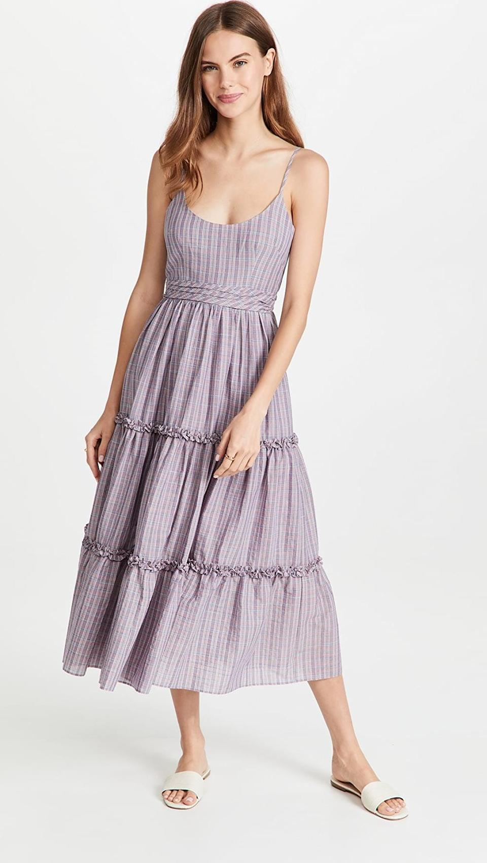 <p>If you're in the market for a longer sundress, this <span>Cinq a Sept Plaid Belle Dress</span> ($395) is for you. I love the purple hue.</p>