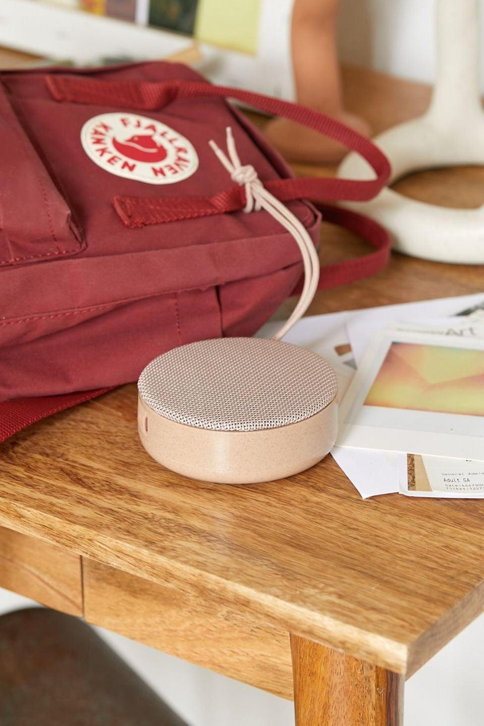 <p>The size of this <span>Soar Travel Eco-Friendly Wheat Fiber Bluetooth Speaker</span> ($20) is perfect. They can take it anywhere.</p>