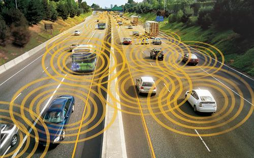 Illustration of driverless cars on an interestate