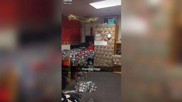 photo paige benoits college roommate daniella pitruzzello pranked her by decking the halls with over - College Christmas Decorations
