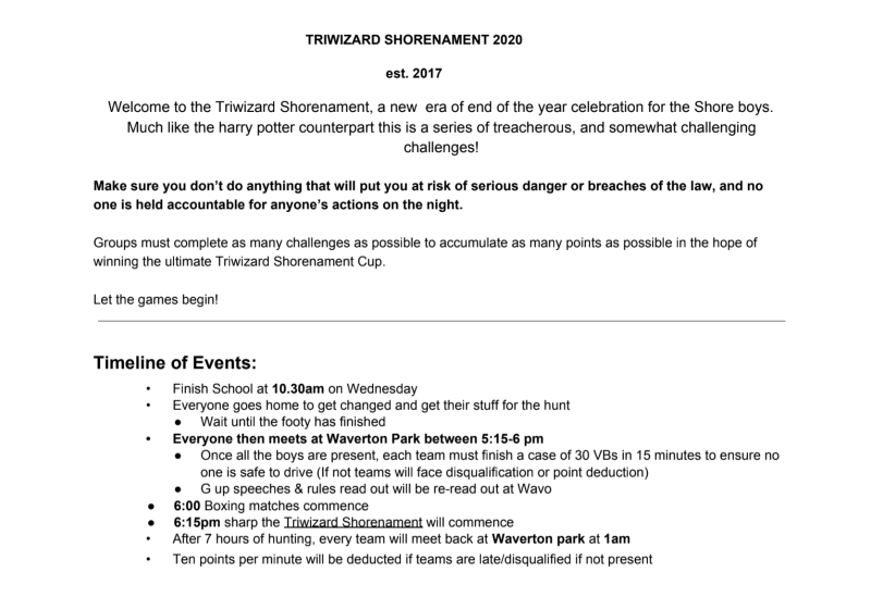 Pictured is the timeline of events for the Triwizard Shorenament event.