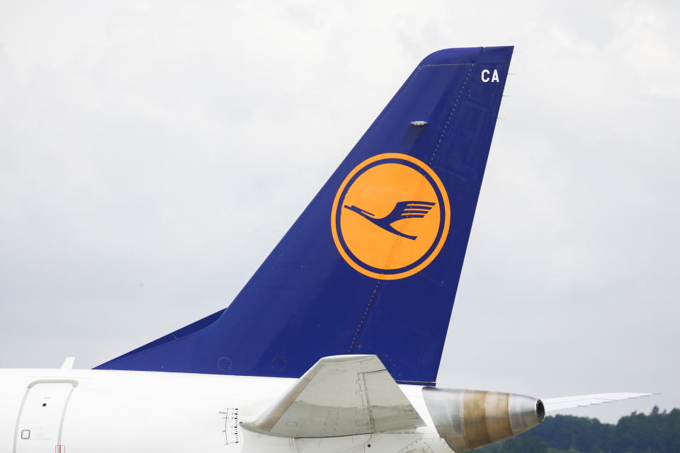 Lufthansa German Airlines logo is seen on an airplane at John Paul II International Krakow Airport in Balice, Poland on July 3, 2020. Kraków Airport is the second-largest air terminal in Poland, last year it serviced over 8.4 million passengers. Due to the coronavirus pandemic the terminal has been closed since mid-March and re-opened on 17 June for international flights around EU.   (Photo by Beata Zawrzel/NurPhoto via Getty Images)