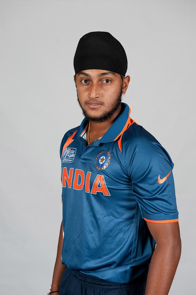 BRISBANE, AUSTRALIA - AUGUST 06:  Harmeet Singh of India poses during a ICC U19 Cricket World Cup 2012 portrait session at Allan Border Field on August 6, 2012 in Brisbane, Australia.  (Photo by Matt Roberts-ICC/Getty Images)