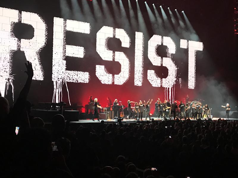 Roger Waters onstage at L.A.'s Staples Center
