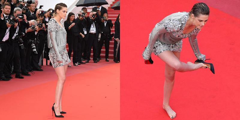 Картинки по запросу Kristen Stewart Protested Cannes' 'No Flats' Policy by Walking the Red Carpet Barefoot