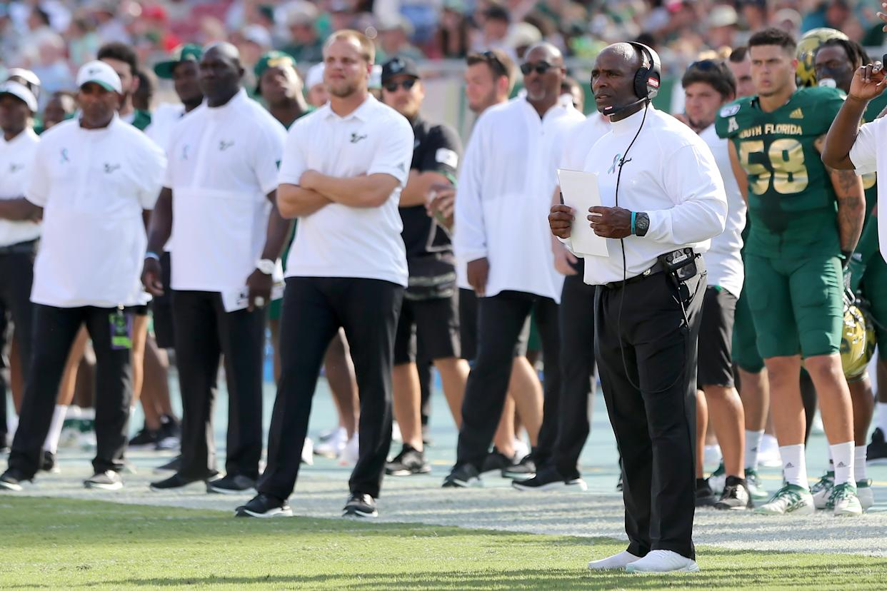 TAMPA, FL - SEPTEMBER 28: USF Head Coach Charlie Strong looks at his defense during the College Football game between the SMU Mustangs and the South Florida Bulls on September 28, 2019 at Raymond James Stadium in Tampa, FL. (Photo by Cliff Welch/Icon Sportswire via Getty Images)